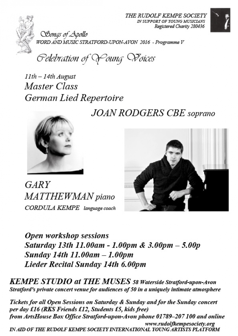 German Lied Repertoire Recital - Sunday 14th August 2016