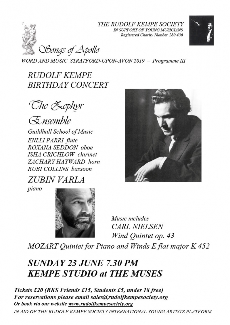 Rudolf Kempe Birthday Concert - Sunday 23rd June 2019